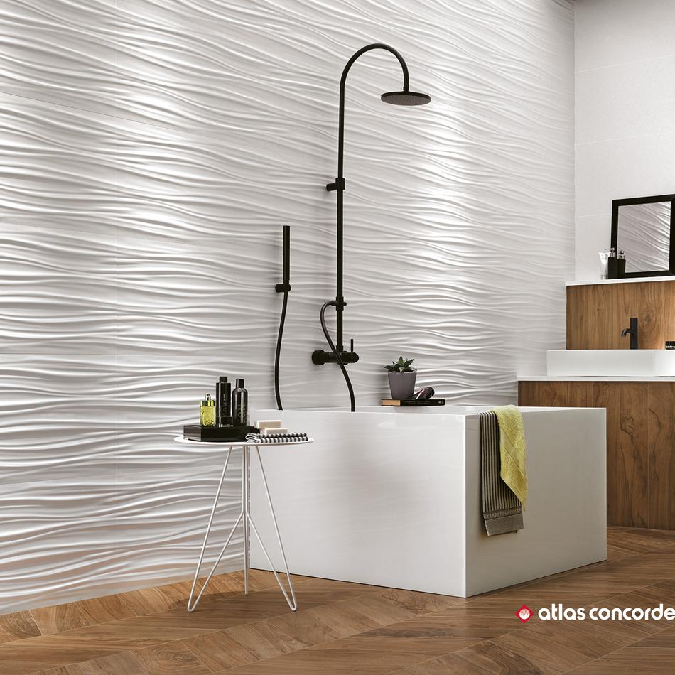 Carrelage blanc 3d wall ribbon white astro habitat - Carrelage 3d salle de bain ...