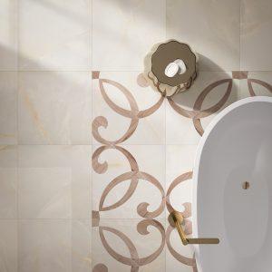 Carrelage-marbre-beige-Alabastro-60x60+Intarsio
